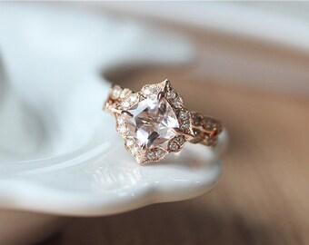 Unique Bridal Ring Set---7mm Cushion Cut Morganite Engagement Ring & Diamond Wedding Band/14K Rose Gold Morganite Ring Set/Wedding Ring Set