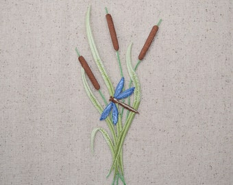 Cattails - Blue Dragonfly - Iron on Applique - Embroidered Patch - 695491B