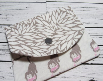 Fabric Women's Wallet, Monkey Love Cotton Fabric Credit Card Holder, Fabric Coin Purse, Gift For Her Under 20