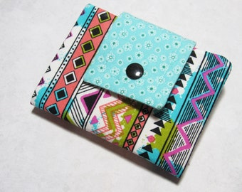 Fabric Women's Billfold Wallet, Credit Card Money Holder Bifold Wallet, BOHO Chic Fabric Billfold, Gift For Her
