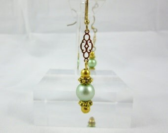 Green Freshwater Pearl Earrings Handmade Gold Plated Dangle Earrings