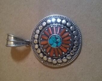 Tribal silver stone pendant