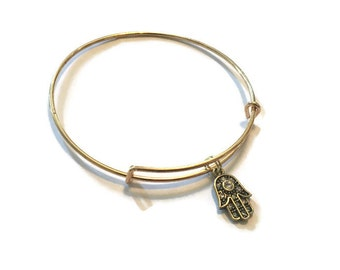 Hamsa Hand Charm Bracelet - Hamsa Hand Charm Bangle - Gold Adjustable Bangle Bracelet - Hamsa Hand Jewelry - Stacking Bangles