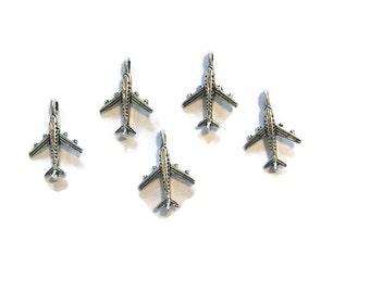 Airplane Charms - Plane Charms - Silver Airplane Charms - Lot of 5 Airplane Charms - Silver Charms - Jewelry Supplies