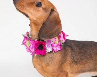 Flower Dog Collar for Weddings - 'Be Mine Design' - Flower Dog Collar for Weddings - cerise pink meadow flowers