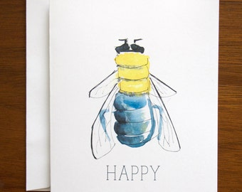 Bee Happy Stationery - set of 6 folded cards + envelopes
