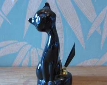 1960s lucky black cat desktop pen holder