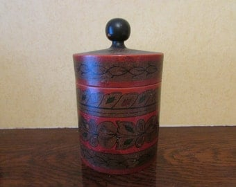Vintage Russian folk art hand-painted canister/tea caddy
