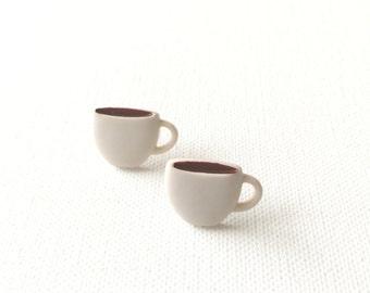 Coffee Cup Stud Earrings, Coffee Mug Earrings, Coffee Lovers Gift, Mocha, Joe, Kawaii, Mini Food