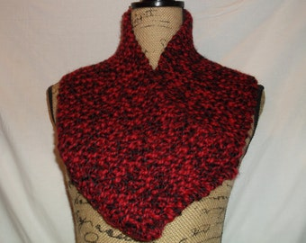 Handmade Knit Cowl - RED and BLACK - Winter Scarf, Hand Knit, Christmas Gift - Infinity Cowl Wrap