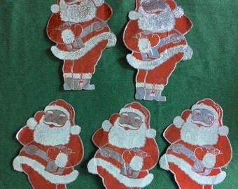 Five Vintage Foil Santa Decoration