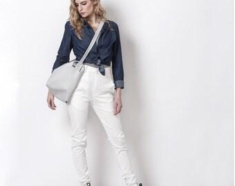 ON SALE 30% Fabric messenger bag women, Crossbody bag vegan, Canvas messenger bag, Womens messenger Bag, Gray fabric bag - TOM