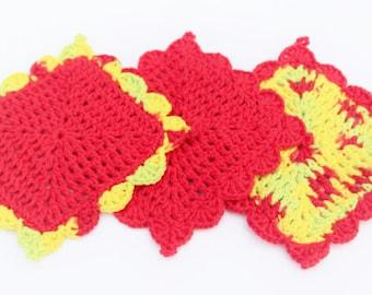 Red Yellow Green Crochet Dishcloth Set, Cotton Dishcloths, Crochet Washcloth, Cotton Crocheted Washcloth, Crocheted Dishcloths, Hostess Gift