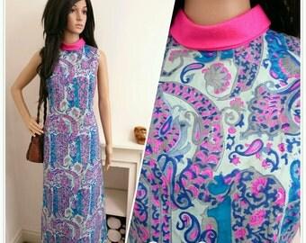 Vintage 60s Psychedelic Pink Silk Paisley Floral Boho Hippy Maxi Dress / UK 10 / EU 38 / US 6