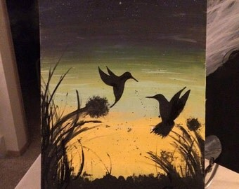 Humingbird Sunset, Original Abstract art, Sunset Scene, 12 by 20, Wall Art