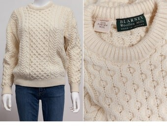 70's Vintage Fishermans Wool Sweater • Soft Merino Wool • Boyfriend Sweater • Grandpa Sweater • Fisherman Knit Sweater