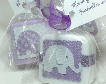 48 Shower Favors baby girl shower favor soaps - Elephant baby shower favors - unique Birthday Party Favors -  Personalized