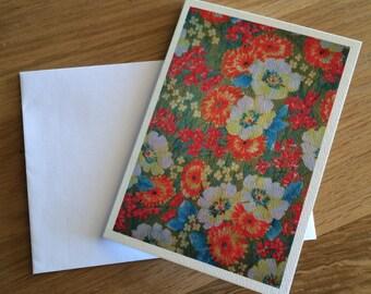 Vintage Fabric Print Greeting Card, Blank, Orange Floral Vintage Fabric Print