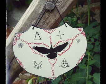 Wall decoration Wiccan Crow / / grey & Red