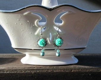 Mint Julep Rose Earrings, Vintage Inspired, Elegant Earrings, Dangle & Drop Earrings, Perfect Gift Item