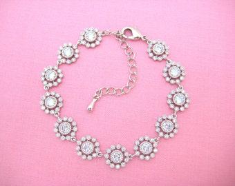 Wedding Bracelet Bridal Bracelet Crystal Clear Cubic Zirconia Bracelet Delicate Floral Bracelet White Gold Bracelet Wedding Jewelry (B003)