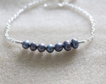 Silver Chain Freshwater Rainbow Pearl Bracelet