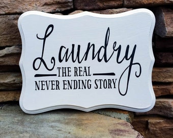 never ending story, hand painted, wood sign, laundry sign, laundry decor
