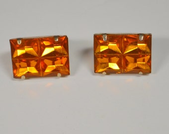 Vintage Large Amber Rhinestone Clip Earrings Rectangler Prong Set Amber Color Large Facetted Unique Rhinestone Earrings
