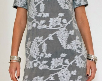Cotton Dress - Summer Womens Clothing - Short Dress - Gray Short Tunic - Little Dress - Short Sleeves - Gray and White - Cotton Clothing