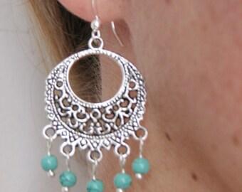 Turquoise Silver Earrings - Bohemian Earrings -  Gypsy Boho Jewelry - Fashion Jewelry - Beach Summer Earrings