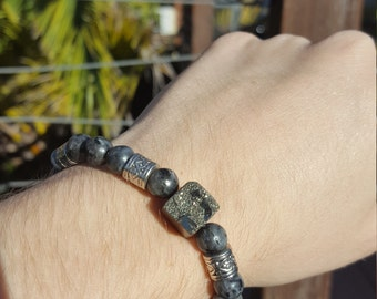 PROTECTION Labradorite and Pyrite stackable bracelet