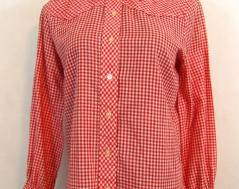 50s 60s Button Down Shirt, Vintage Red Gingham Western Shirt by Bluebell Size 34 Small