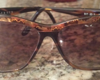 Vintage Ellen Tracy Brown/Amber Tortoise Retro Sunglasses Italian 1980s D417-2
