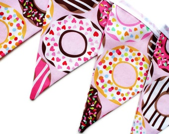 Doughnut bunting - donut garland - donut banner - donut decor - donut decorations - party bunting - craft room decor