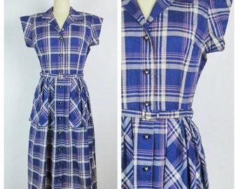 Vintage 1950s Dress / 50s Purple Plaid Shirt Dress / Medium