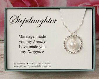 Gift for Stepdaughter gift from stepmom Sterling silver Swarovski pearl necklace gift from Stepmother bride to step daughter