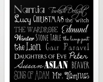 Narnia print, Chronicles of Narnia, The Lion The Witch, The Wardrobe, Aslan, Narnia Artwork, Childrens Books, CS Lewis, Kids Art, Lucy, Eve