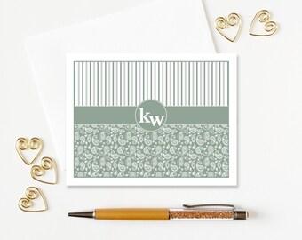 Monogrammed Stationery | Personalized Stationery Set | Monogram Notecards | Paisley Folded Note Cards set of 10