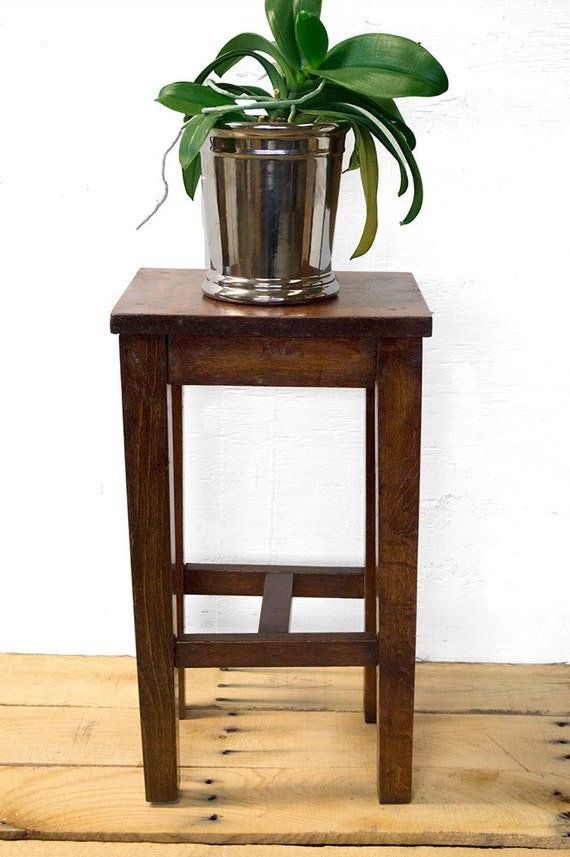 Mission style plant stand rustic wood plant stand vintage for Small dark wood side table
