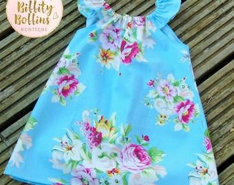 Seaside Dress in Tanya Whelan Blue Floral