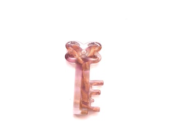 Dichroic Pendant, Key shaped, translucent, 52mm x 25mm,