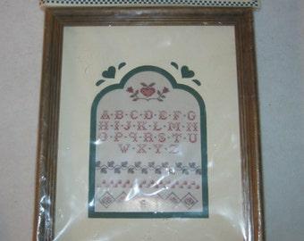 Vintage Cross Stitch Sampler Kit - Sue Hillis - Country Mats n Frames - NOS - 1989