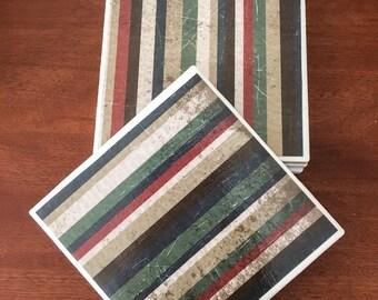Stripe coasters, tile coasters, ceramic tile coasters, coaster set, table coasters, drink coasters