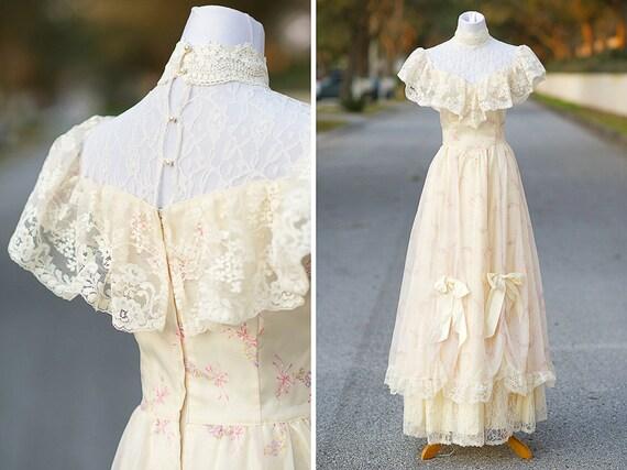 Southern Belle Wedding Dress Small XS 70s 80s Gunne Sax Ivory