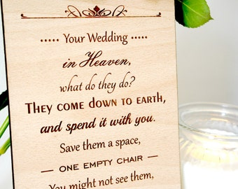 Wooden engraved wedding sign, your wedding in heaven, wedding plaque, memorial sign, various sizes