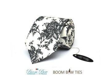 Mens Tie/ pocket square TC020 Gray Floral Handmade Cotton Men's necktie Boom Bow Wedding necktie