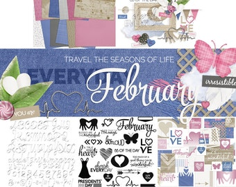 Digital Scrapbooking Kit: Everyday February