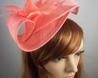 Coral Pink Leaf Sinamay Fascinator with Feather Flower - Hat Wedding Races