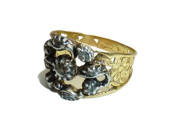 Georgian Wide Diamond Band With Pierced Floral Detailing In High Carat Gold