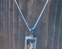 Jingle Nielloware Pendant on Chain - Vintage Siam Sterling Charm on 925 Chain - Silver Siam / Thai Dancer Mekkala - Thailand Siamese Jewelry